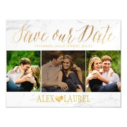 PixDezines Marble Save Our Date/Faux Gold Magnetic Invitation