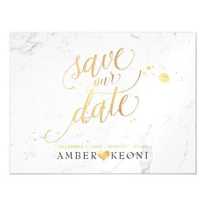 PixDezines Marble Save Our Date/Faux Gold Magnetsic Invitation