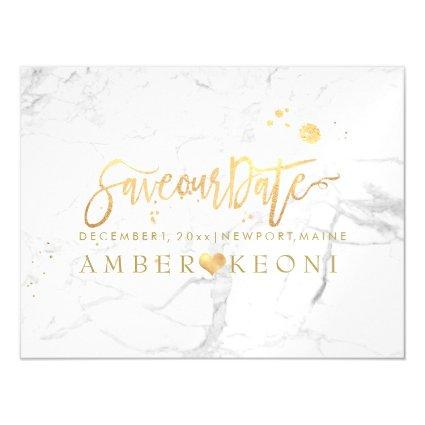 PixDezines Marble Save Our Date/Faux Gold Script Magnetic Invitation