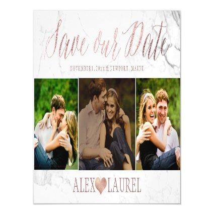 PixDezines Marble Save Our Date/Faux Rose Gold Magnetsic Cards