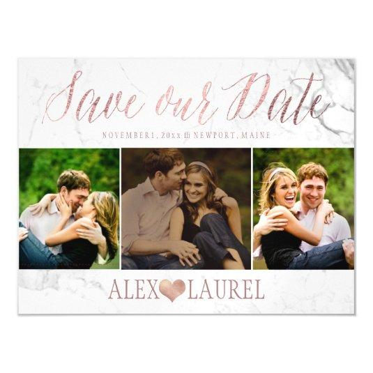 PixDezines Marble Save Our Date/Faux Rose Gold Magnetic Card