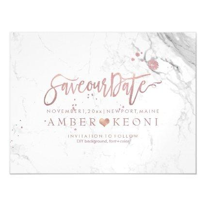 Pixdezines Marble Save Our Date Faux Rose Gold Magnetsic Invitation