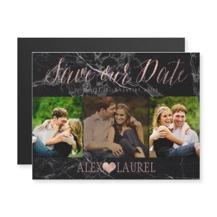 PixDezines Marble Save Our Date/Faux Rose Gold Magnetic Invitation