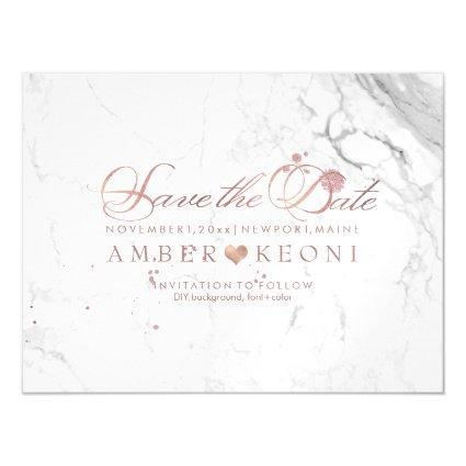 PixDezines Marble Save Our Date/Faux Rose Gold Magnetsic Invitation