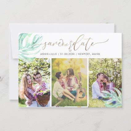 PixDezines Monstera Watercolor|Save the Date Save The Date