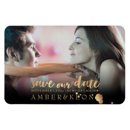 PixDezines photo save our date/gold brush script Magnet