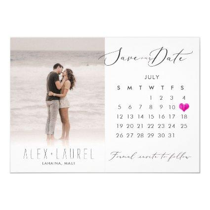 PixDezines Photo Save the Date Calendar Pink Heart Invitation