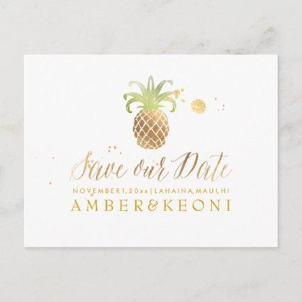 PixDezines Pineapple/Faux Gold/Save the Date Announcement