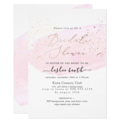 PixDezines Pink Watercolor Champagne Bridal Shower Invitation