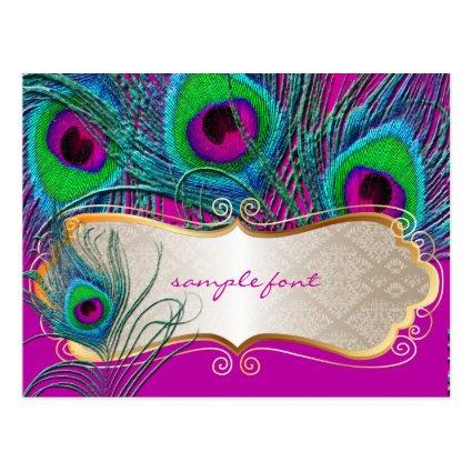 PixDezines psychedelic peacock+gold trim label Cards
