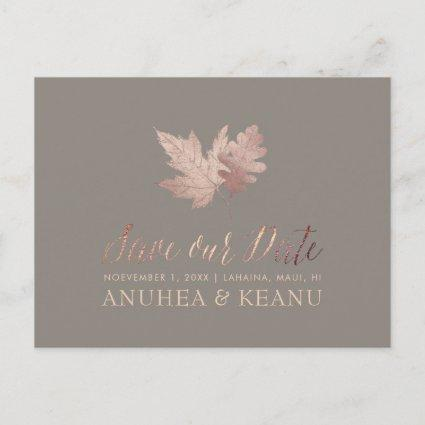 PixDezines Rose Gold Fall Foliage/Save our Date Announcement