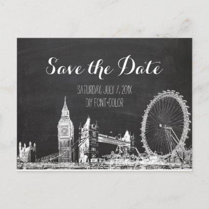PixDezines/save date/chalkboard/london sketched Announcement