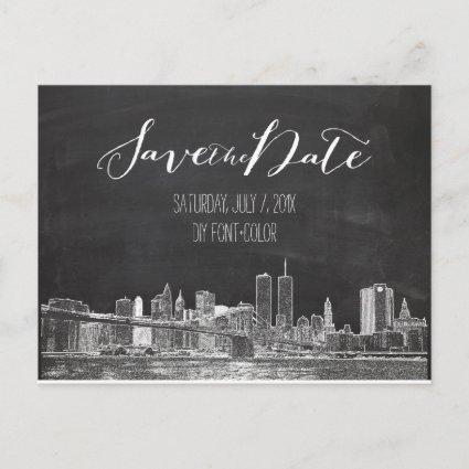 PixDezines/Save Date/chalkboard/NYC Twin Tower Announcements Cards