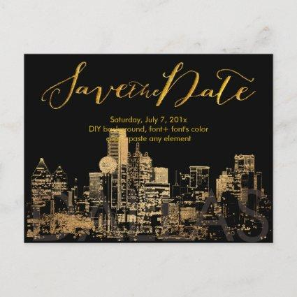 PixDezines/Save Date/Faux Gold/Dallas Skyline Announcements Cards