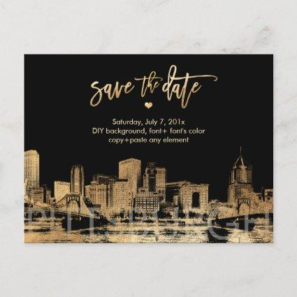 PixDezines/Save Date/Faux Gold/Pittsburgh Skyline Announcement