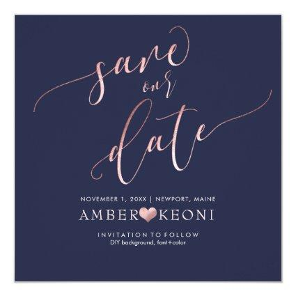 PixDezines Save Date/Faux Rose Gold/Midnight Blue Cards