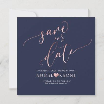 PixDezines Save Date/Faux Rose Gold/Midnight Blue Save The Date