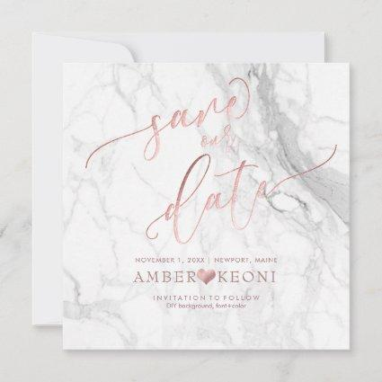 PixDezines Save Date/Faux Rose Gold/White Marble Save The Date
