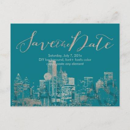PixDezines/Save Date/Faux Silver/Dallas Skyline Announcements Cards