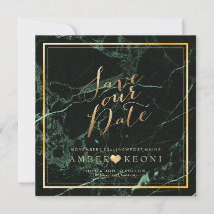 PixDezines Save Date/Green Marble/Faux Gold Save The Date