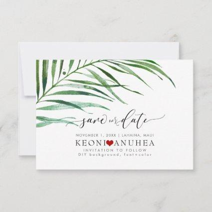 PixDezines Save Date/Greenery, Palm Fronds Save The Date