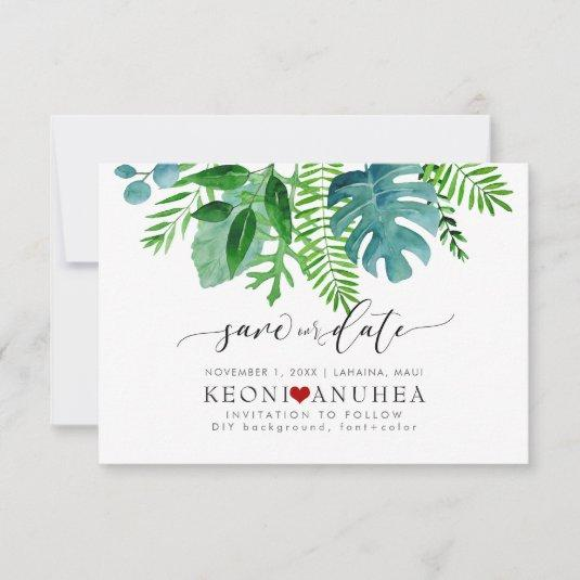 PixDezines Save Date/Greenery, Tropical Foliage Save The Date