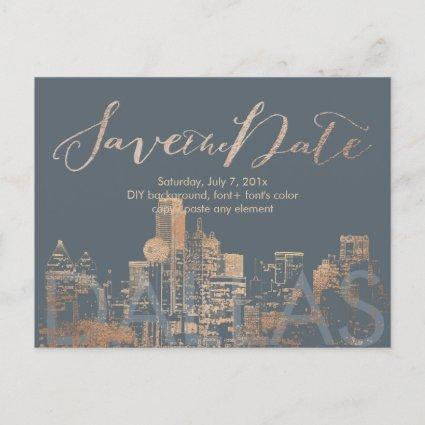 PixDezines/Save Date/Pink Gold/Dallas Skyline Announcements Cards