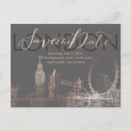PixDezines/Save Date/Pink Gold/London Skyline Announcements Cards