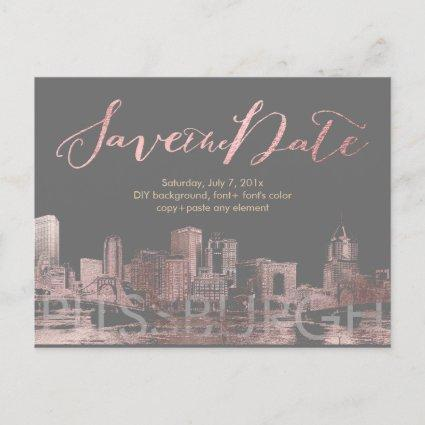 PixDezines/Save Date/Pink Gold/Pittsburgh Skyline Announcement