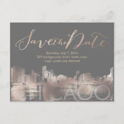 PixDezines/Save Date/Rose Gold/Chicago Lakeshore Announcements Cards