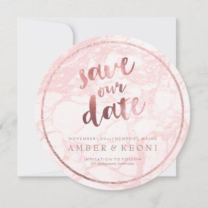 PixDezines Save Date/Rose Gold/Pink Marble Save The Date