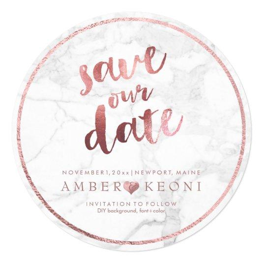 PixDezines Save Date/Rose Gold/White Marble Card