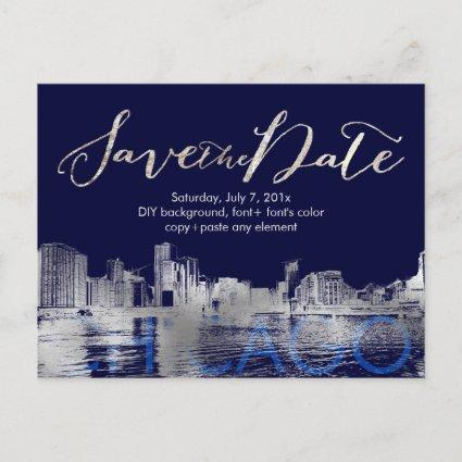 PixDezines/Save Date/Silver/Chicago Lakeshore Announcements Cards