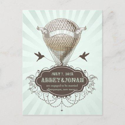 PixDezines/save date/vintage hot air balloon Announcements Cards