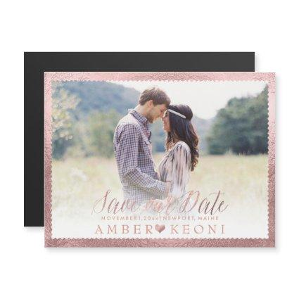 PixDezines Save Our Date/Faux Rose Gold Magnetic Invitation