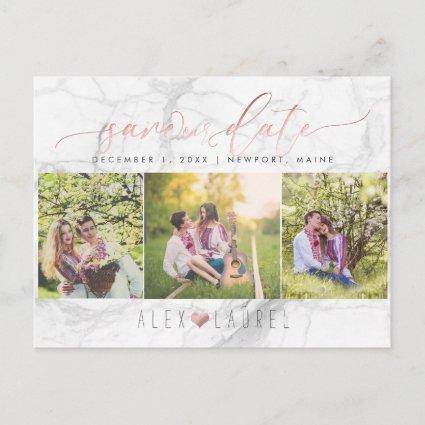 PixDezines Save our Date/Faux Rose Gold+Marble Announcement