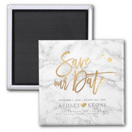 PixDezines Save our Date/Marble+Faux Gold Magnet