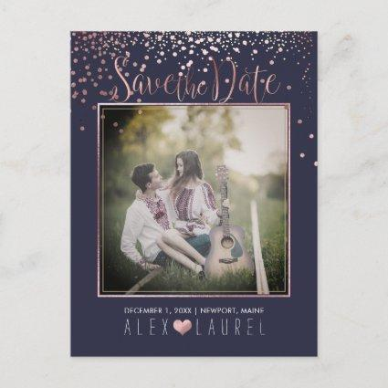 PixDezines Save th Date/Faux Rose Gold Confetti Announcement