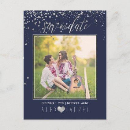 PixDezines Save th Date/Faux Silver Confetti Announcements Cards