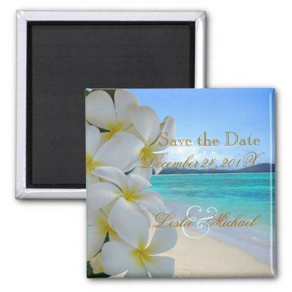 PixDezines SAVE THE DATE / BEACH+PLUMERIA LEI Magnet