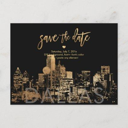 PixDezines/Save the Date Dallas Skyline/Faux Gold Announcement