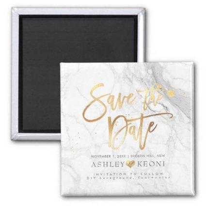 PixDezines Save the Date/Faux Gold+Marble Magnet
