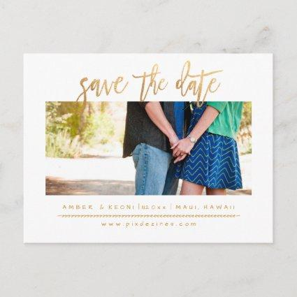 PixDezines Save the Date/Faux Gold Modern Script Announcements Cards