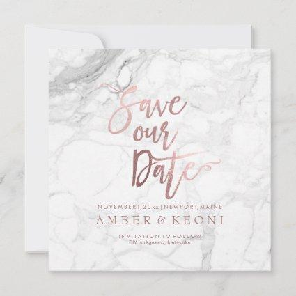 PixDezines Save the Date Faux Rose Gold+Marble