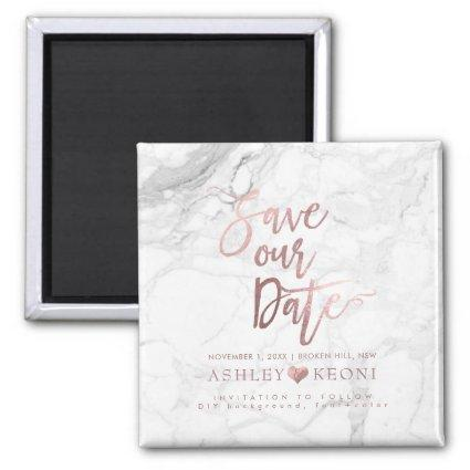 PixDezines Save the Date/Faux Rose Gold+Marble Magnet