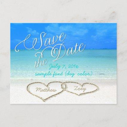 PixDezines/save the date/hearts/sand Announcements Cards