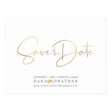 PixDezines Save the Date/Iridescent Gold Script