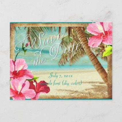 PixDezines/save the date/vintage tropical beach Announcement