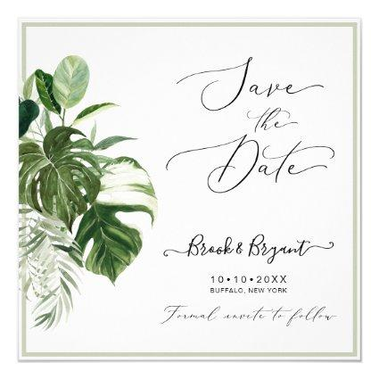 PixDezines Variegated Monstera n Tropical Foliage Invitation