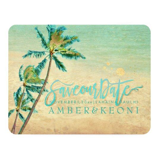 PixDezines Vintage Beach/Palm Trees/Save the Date Card